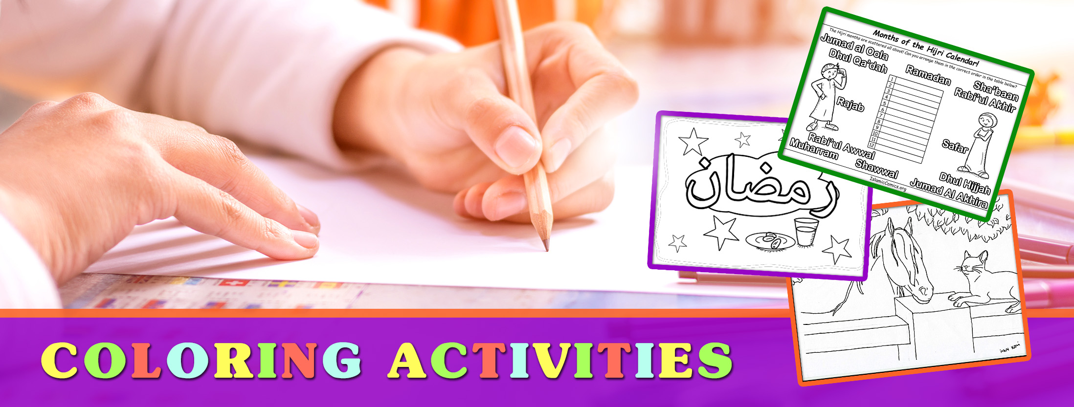 Share this twitter facebook google pinterest email - Banner Coloring Activities Islamic Comics