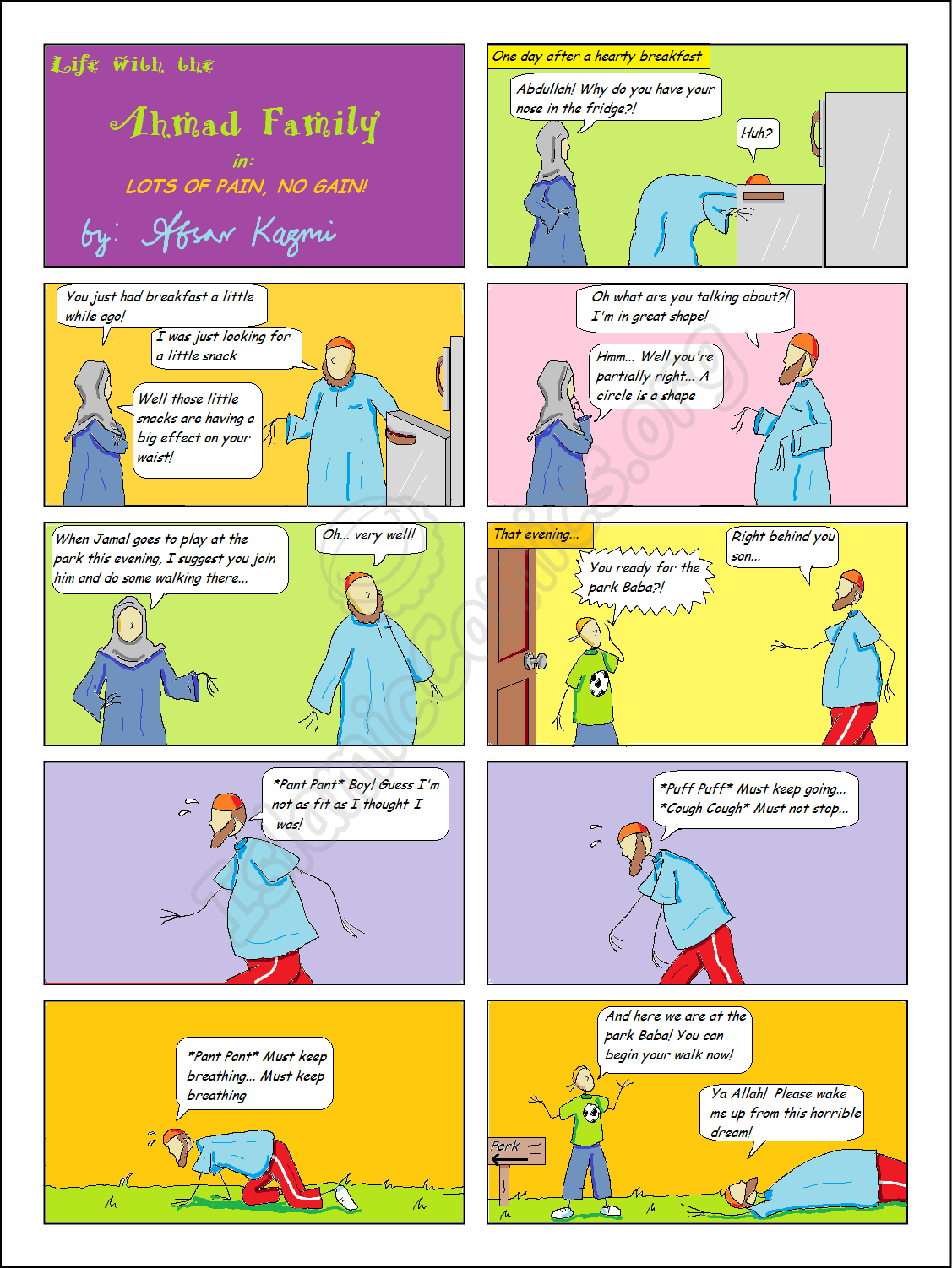 Life with the Ahmad Family comics - Lots of Pain, No Gain!
