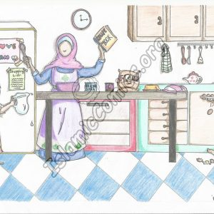 Mother and Kids Preparing Iftar - Islamic Illustrations by Kids