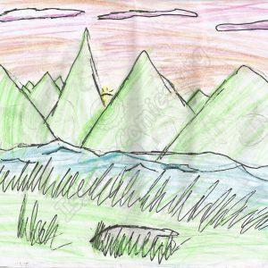 Landscape illustration by Wardah Kazmi, Age 6