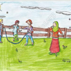 Islamic Illustration of girls playing jump-rope