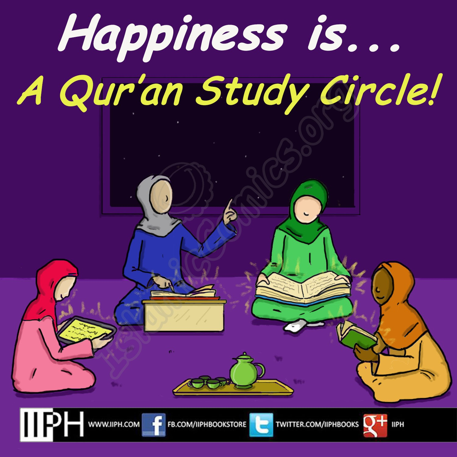 Happiness is... A Qur'an Study Circle - Islamic Illustrations (Islamic Comics)