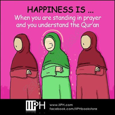 Happiness is when you stand in prayer understanding Quran - Islamic Illustrations (Islamic Comics)
