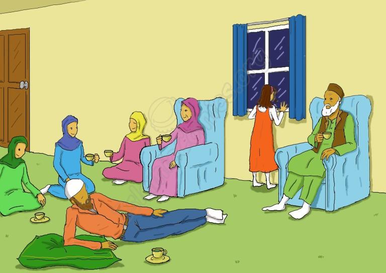 After iftaar and Isha prayers all Zainab's family members settle down for green tea