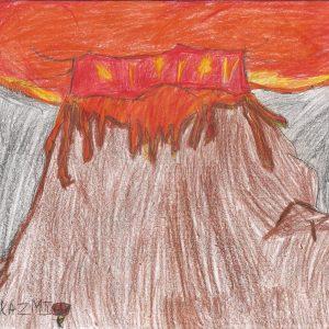 Erupting Volcano by Wardah Kazmi, Age 6 - Illustrations by Muslim Kids