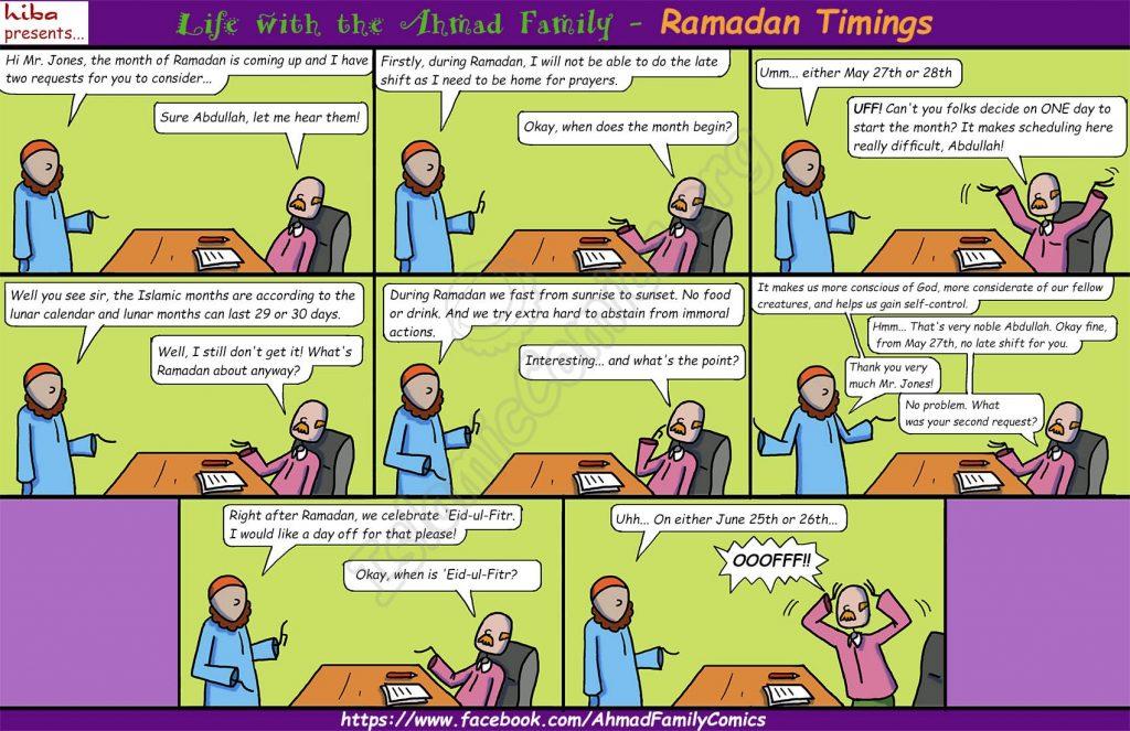 Life with the Ahmad Family Comics - Ramadan Timings