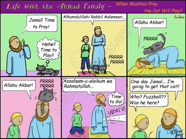 When Muslims Pray, the Cat will Play - Ahmad Family Islamic Comic